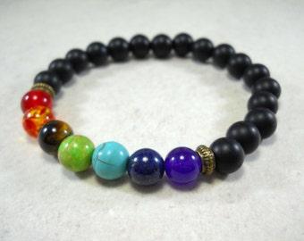 Black Stone 8mm Chakra Bracelet with Multi Color Beads, Elastic Cord, Men's Bracelet, Women's Bracelet