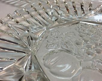 c.1930 Set of 2 Pressed Glass Platters
