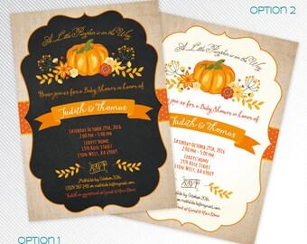 Orange Little pumpkin baby shower printable invitation