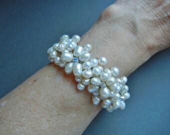 Vintage Freshwater pearl wire cuff bracelet, freshwater pearl wire cuff bracelet,  pearl wire cuff bracelet, pearl wire cuff, pearl cuff