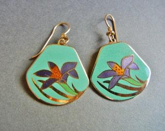 Laurel Burch Lotus Flower Earrings, Laurel Burch Lotus Earrings, Laurel Burch Teal Lotus Flower Earrings, Laurel Burch deco earrings
