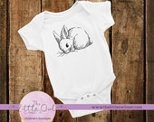 Unique Baby Clothes | Bunny Sketch | Cute Baby Clothes | Bodysuit Creeper | Embroidered Artwork | Baby Animals | Baby Shower Gift