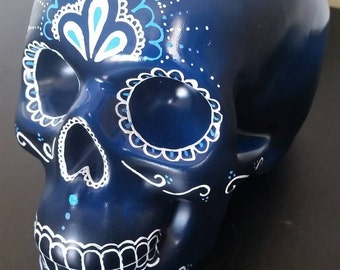 Hand painted dia de los Muertos/ day of the dead skull money box