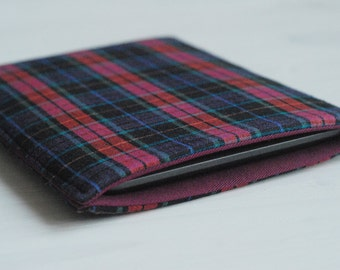 """Padded iPad Mini Cover/ Kindle Fire Case / Samsung Tab S2 8""""/ Kindle Paperwhite Sleeve (Padded Cover Case) in Tartan Checked Pattern"""