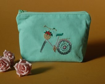 Bicycle Embroidered Pouch / Coin Purse Zip Wallet with Bike Pattern on Mint Cotton and Blue and Grey Houndstooth Lining