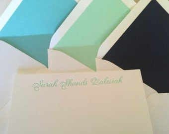 Personalized Letterpress Note Cards with Solid Liner