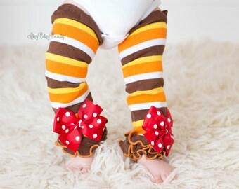 Thanksgiving baby leg warmers stripe red orange brown legs polka dot bows