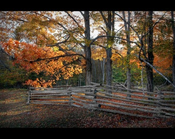 Door County, Old Split Rail Fence and Fall Colors