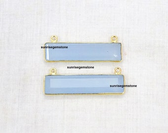 Sale 30% Off 2 pcs. Lot Sky Blue Chalcedony Station Rectangle Shape 34X8mm 24k Gold Plated Double Bail Faceted Bezel Connector.