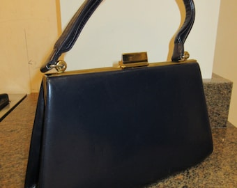 Vintage 1950's Navy Blue Leather Handbag MADE IN ENGLAND By 'Spearo