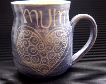 unique coffee mug wheelthrown mug Mum mug personalised gift for Mum purple Mum mug stoneware hearts pattern mother gift