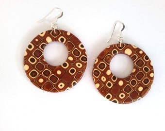 Hoop Earrings, Polymer Clay Earrings, Circle Abstract Earrings