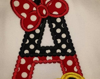 Minnie Mouse Alphabet Letter Disney Vacation Birthday Applique