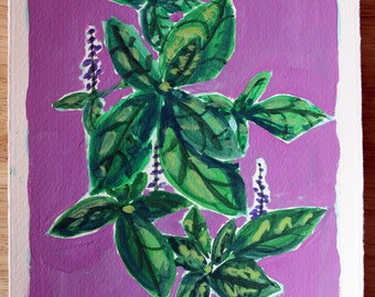 BASIL original gouache on paper 6x8