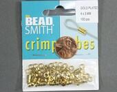 Gold Plated Crimp Tubes 4x3mm (pkg of 100)