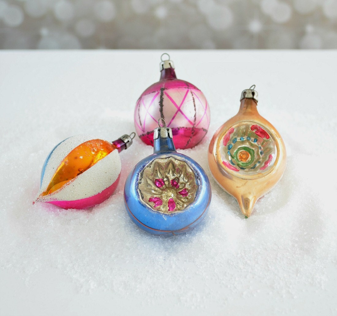 Vintage glass Christmas ornaments made in Poland single