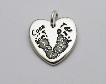 Footprint Jewelry, Footprint Charm, Heart Charm, Baby's Footprints, Personalized Charm, Hand Print Charm, Silver Footprint Charm