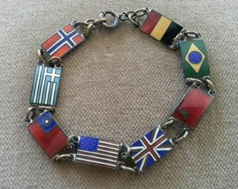 Vintage Sterling Flag Bracelet WWII Allied Flags Vintage Sterling and Enamel Flag Bracelet