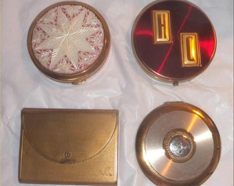 Fun Vintage COMPACT Lot -4 For 1 Figural 1950s Powder Compacts + 2 Unused Vanity Cases in Great Shape ~Coty + Rex ~Button + STAR ~Sale!