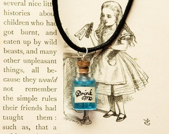Alice In Wonderland inspired Drink Me bottle necklace
