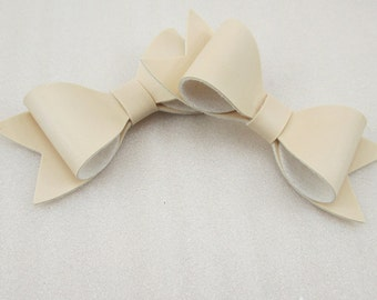 Faux Leather Cream Bow