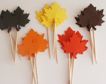 Maple Leaves cupcake topper Thanksgiving toothpicks , Fall party decor , Fall baby shower , Fall wedding , Canada Day , Little Pumpkin
