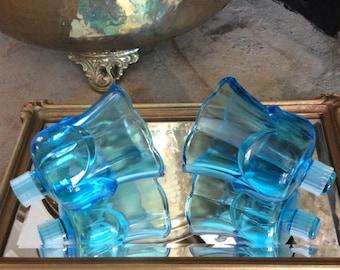 Vintage Aqua Blue Glass, Tulip Votives, Set of Two, Homco, Wedding Decor, French Country, Coastal, Cottage, Shabby Chic, Sconce Votives