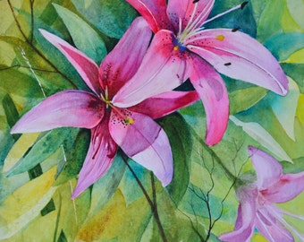 Original floral painting large floral watercolor painting original lilies floral watercolor fine art painting flower painting garden flower