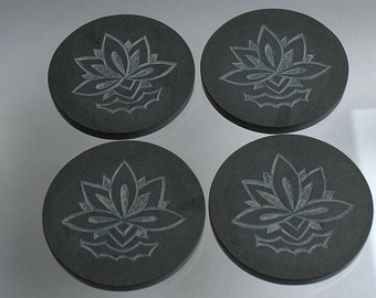Black Slate coasters hand crafted round shape carved stone Lotus design