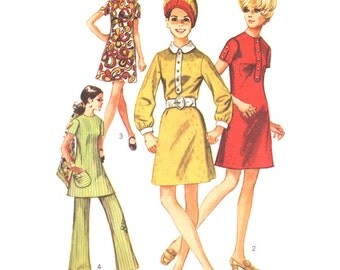 Simplicity Sewing Pattern 8585 Misses' Dress, Tunic, Pants - estimated vintage 1960's - for knits  Size:  12  Bust 34  Waist  25.5  Used