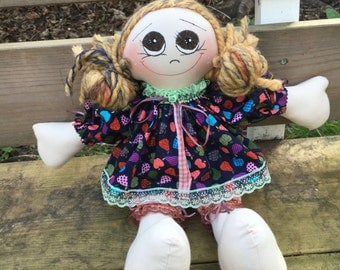 hand made rag doll - personalised embroidered message available