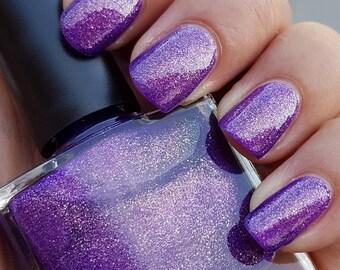 Julia~Single Ladies Indie Nail Polish Violet Jelly Duochrome Lavender/Gold Microflakies 10ML