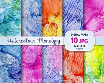 Watercolour Monotypy Digital Paper Clip Art. Set of 10 JPG watercolor abstract backgrounds / digital papers. Printable. Instant download.