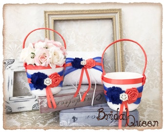 Flower Girl Baskets, Two Royal Blue and Coral Flower Girl Baskets and Ring Pillow, Ring Bearer Pillow, Flower Girl Basket Set