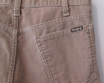 70's Sears Cord Thumbs Up jeans Tan flared leg Jeans size 36 33 by Sears Sportswear