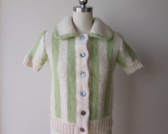60's Italian Mohair Sweater/Jacket striped from Jardin des Modes Roma size extra small
