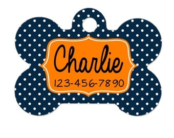 Pet ID Tag - Custom Pet ID Tag - Polka Dot Pet ID Tag for Dog - Bone Pet id Tag