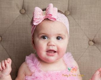 Pink baby headband, Newborn headband, Christening headband, Baptism headband, Big bow headband, Lace headband, Baby girl headband,Baby Bows