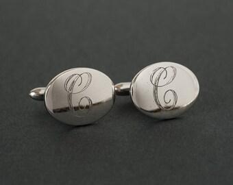 Vintage Cufflinks Sterling Silver Monogram C