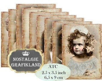 Girls Vintage French Labels Shabby Chic Children ATC Aceo printable Journals Instant Download digital collage sheet S131