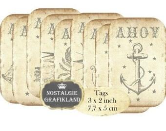 Ahoy Nautical Ocean Maritim Anchor Seahorse Tags Instant Download digital collage sheet T160