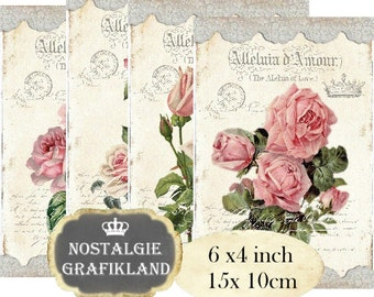 French Amour Roses Lace Flowers Fleurs Romantic  6 x 4 inch Instant Download digital collage sheet D214