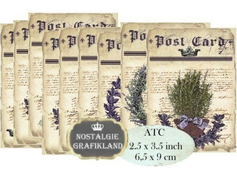 Lavender Herbs Postcard Provence ATC Digital Collage Sheet Instant Download S144 PDF France Soap Sachets