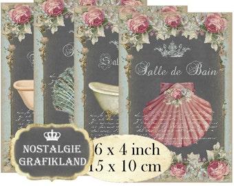 Salle de Bain Bathroom Chalkboard Shabby Chic 6 x 4 inch Instant Download printable digital collage sheet D114