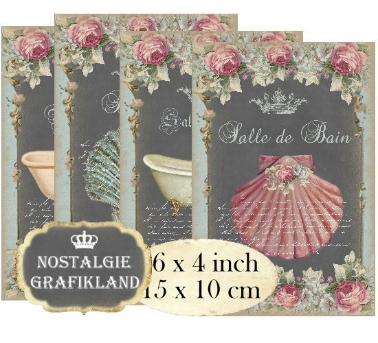 salle de bain bathroom chalkboard shabby chic 6 x 4 inch. Black Bedroom Furniture Sets. Home Design Ideas