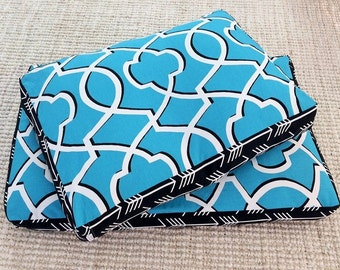 Pet Bed Cover - Snuggles - Teal Black & White - small