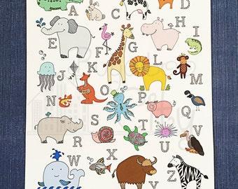 ABC Animal Children's Art Poster