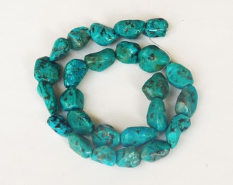 Old Stock Genuine Polished Turquoise Nugget Beads - Full strand