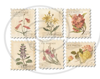 Floral stamps. Fake stamps. Old postage stamps. Vintage digital stamps. Postage stamp art. Digital collage sheet #5. Instant download PNG