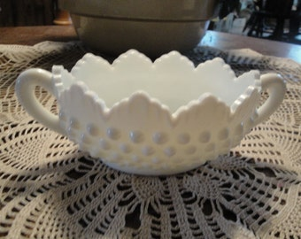 Fenton Hobnail White Milk Glass Open Oval Sugar Bowl With Handles